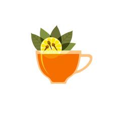 Рисунок на белом фоне чашки заваренного чая, листьев чая, лимона, приправы гвоздика.