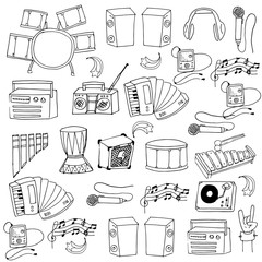 Doodle of music icons set