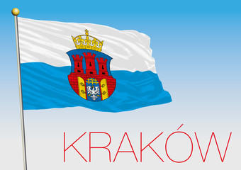 Krakow city flag with coat of arms, poland