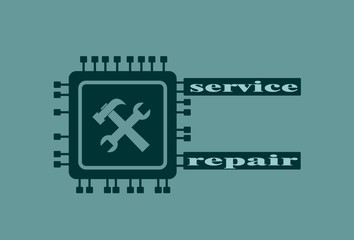 CPU Microprocessor flat style icon. Chip with service and repair text