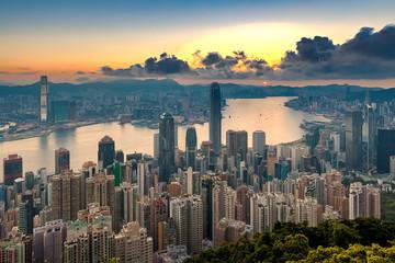 Hong Kong city view from peak at Sunrise