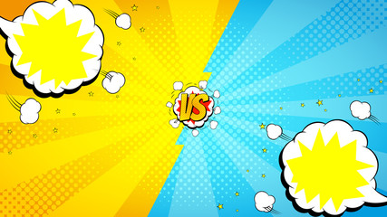 Versus letters fight background. Vector illustration with speech bubbles. Decorative backdrop with bomb explosive in pop art style.