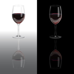 Red vine glasses with mirror reflection on white and black backgrounds