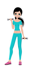 Sports girl with dumbbells