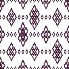Ikat damask seamless pattern. Black diamonds on a white backgrou