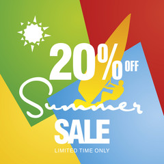 Summer sale 20 percent off discount offer windsurf board sun card color background vector