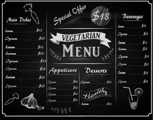full vector template vegetarian Chalkboard menu