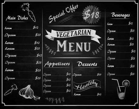full vector template vegetarian Chalkboard menu