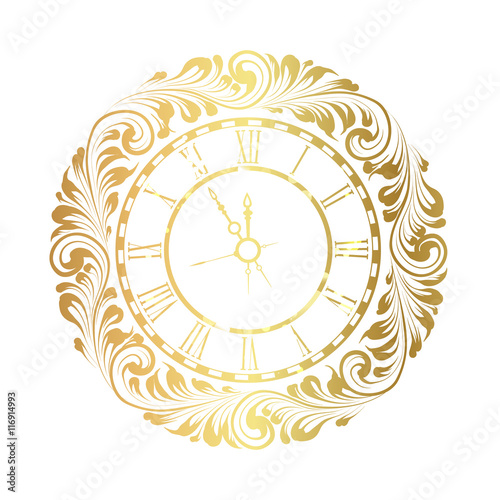 2017 New Year white background with golden clock  Old clock