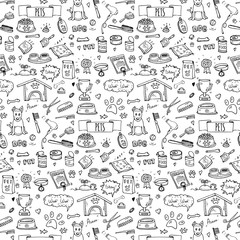 Seamless pattern hand drawn doodle Pets stuff and supply icons set. Vector illustration. Symbol collection. Cartoon dog care elements: kennel, leash, food, paw, bowl, bone and other goods for pet shop