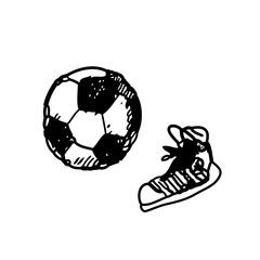 Hand drawn doodle football soccer game, gumshoes. Black pen, white background. Sport, school, children activities.