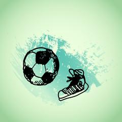 Hand drawn doodle football soccer game, gumshoes. Black pen outline, green watercolor grunge background. Sport, school, children activities.