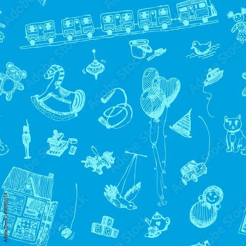 Hand Drawn Doodle Toys Seamless Pattern Light Blue Pen Objects