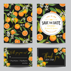 Save the Date Card. Orange, Leaves and Flowers. Wedding Card Invitation