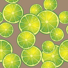 Vector illustration of lime slices on brown background in different angles. Pattern.