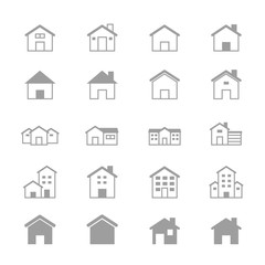 House and Home Set Of Building Icons Line
