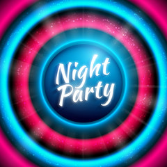 Premium banner template for club night party. Colorful abstract vector background with virbant blue-pink round sound waves and disco ball with light rays and text in center