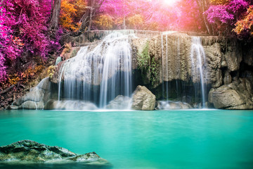 Wall Murals Waterfalls Amazing waterfall in autumn forest
