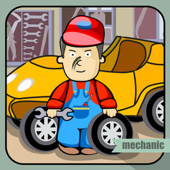 Vector person character portrait. Mechanic portrait isolated on unpainted fence background. Cartoon style. Human profession icon.