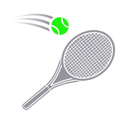 Vector illustration of logo for lawn tennis,consisting of flying green ball,grey racket close-up.Sports equipment for the sport.Wooden object hanging in the air to repel the attack of the opponent.