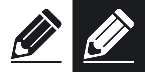 Pencil icon, vector. Two-tone version on black and white background