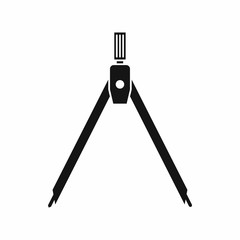 Drawing compass icon in simple style isolated on white background. Draw symbol