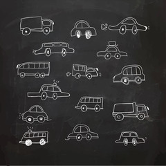 Hand Drawn cars on a chalkboard. Vector Illustration