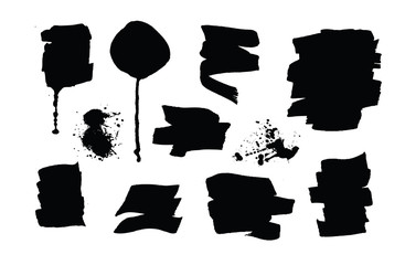 Set of black grunge brush strokes and splashes