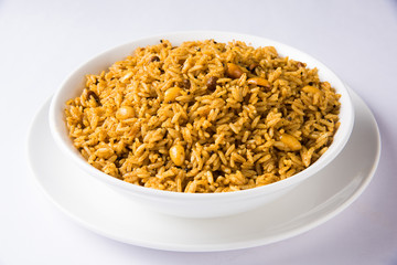 Tamarind Rice or puliyodharai rice from Tamil Nadu, India