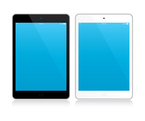 Black and white tablets with blue screens. Mockup isolated on white. Vector Illustration