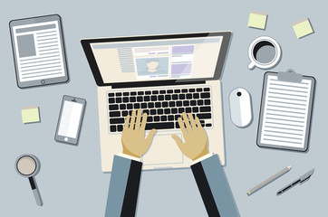 hands typing text on the laptop keyboard and using social networks for communication. Top view of people working with computer at the work desk vector