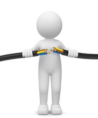 3d Männchen mit unterbrochener Stromverbindung