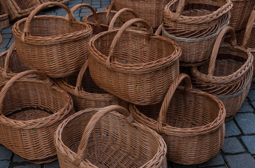 Baskets on sale in the market