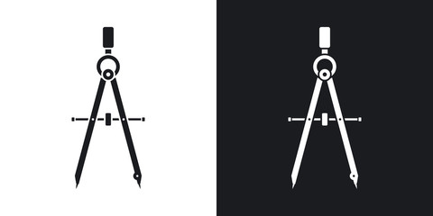 Vector compass tool icon. Two-tone version on black and white background