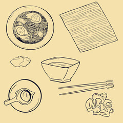Set of soup, sauces, ginger, wasabi and bamboo napkin with sticks. Cartoon sketch drawn by ink. hand drawn vector illustration.
