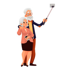 Elder grey-haired caucasian couple taking selfie, cartoon style vector illustration. Older casually dressed man and woman taking pictures of themselves using phone and monopod