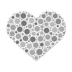Heart mosaic of grey dots in various sizes and shades. Vector illustration on white background.