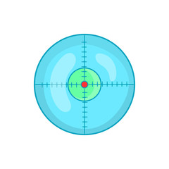 Optical sight icon in cartoon style on a white background