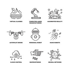 Future technology and robot artificial intelligence outline vector icons