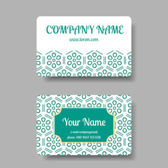 Vintage business card collection with chinese ornament. Vector illustration