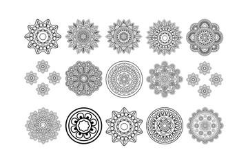 Round tribal elements decorative isolated set. Vector illustration