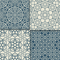 Blue and white arabic pattern set. Vector illustration