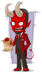 Cartoon sly devil with contract