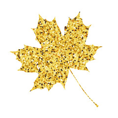 Autumn fall. Golden maple leaf background. Vector illustration.