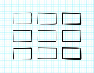 Hand-drawn rectangles and text boxes