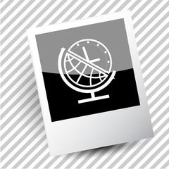 globe and clock.