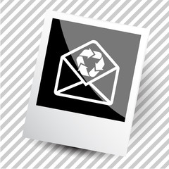 mail with recycle symbol.