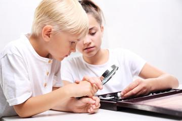 Geografia w szkole. Dzieci oglądają minerały pod lupą