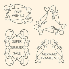 Line art mermaids logo set on beige background