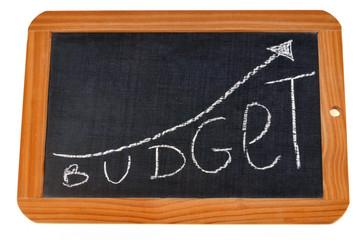 Ardoise avec écrit budget dessus